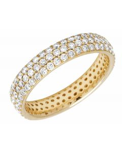 Ladies 14K Yellow Gold Real Diamond 3 Row Eternity Ring Band 1.85CT 4MM