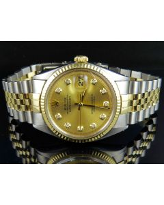Rolex Datejust 18K Two Tone Stainless Steel Fluted Bezel Diamond Watch