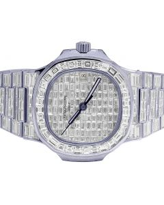 18K White Gold Patek Philippe Nautilus 5711 Baguette Diamond Watch 67.75 Ct