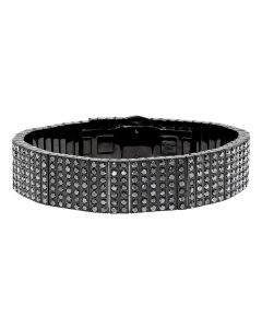 Black Ion Stainless Steel 18mm Bracelet with Diamonds (24 ct)