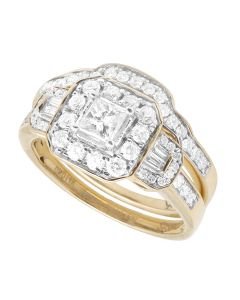 10K Yellow Gold Princess Diamond Cluster Solitaire Ring Set with Baguette Accents 0.9CT
