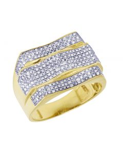 Mens Yellow Gold Wave Curve Pinky Ring 0.70 CT