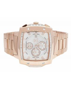 Mens Aqua Master 51MM Rose Gold Finish Diamond Watch W#354 0.28 Ct