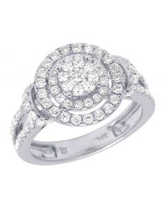 14K White Gold Diamond Round Cluster Halo Engagement Ring 1.08 CT 13MM