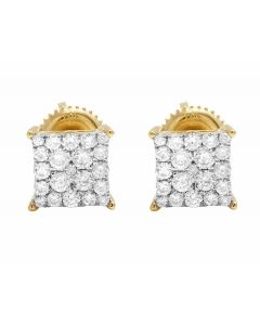 10K Yellow Gold Kite Pave Real Diamond Stud Earrings .25ct 6MM