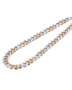 "Solid 10K Two tone White/Rose Gold Real Diamond 2 Row Square Cuban Chain 10MM 22"" 12.75CT"