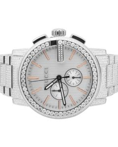 Mens G-Chrono Gucci 44 MM Diamond Watch YA101201 10.0 Ct