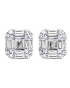 White Gold 2CT Diamond Baguette Octagon Earrings 11MM