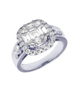 14K White Gold Baguette Halo Engagement Ring 1.87CT