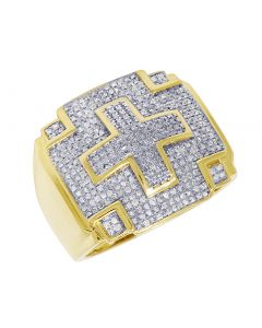 Mens Yellow Gold Cross Pinky Ring 0.70 CT