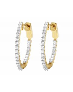 Ladies In And Out Real Diamond 10K Yellow Gold Hoop Earrings 1.0Ct