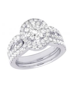 18K White Gold Diamond Round Cluster Halo Bridal Ring Set 2.25 CT
