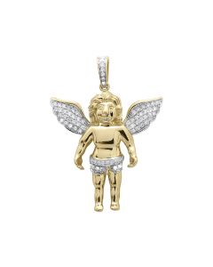 Round Diamond Angel Cherub Pendant in 10k Yellow Gold (1 ct)