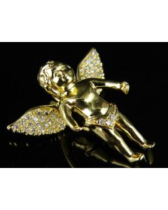 Unisex 14K Yellow Gold Genuine Diamond Flying Cherub Mini Pendant 0.20ct
