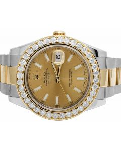 Rolex Datejust II 18K/ Steel 116333 Two Tone Diamond Watch 4.75 Ct