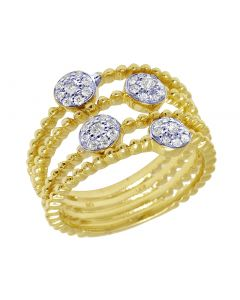 14K Yellow Gold Openwork Flower Cluster Bead Ring 0.3CT