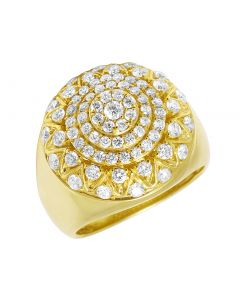 14k Yellow Gold Dome Flower Cluster Round Pinky Ring 2.3CT