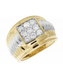 10K Two Tone Gold Real Diamond Square Pinky Ring 1.33 ct 12MM