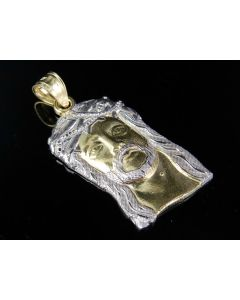 10K Yellow Gold Jesus Face Charm Two Tone Pendant 1.1""