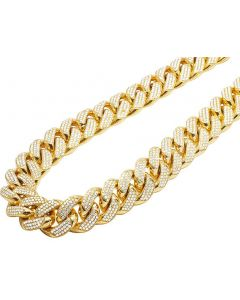 Solid 10K Yellow Gold Miami Cuban 1 Kilo Diamond Chain Necklace 59.5 Ct