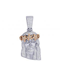 "Two Tone Jesus Head Star Crown Diamond Pendant 2.12"" 2.1 CT"