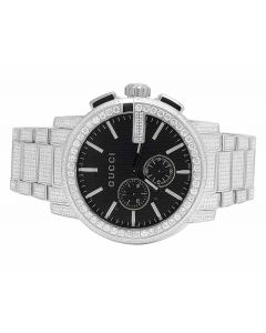 Mens G-Chrono Gucci 44 MM Diamond Watch YA101204 10.0 Ct