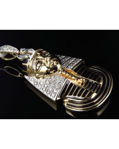 10K Yellow Gold King Tut Pharaoh Egyptian Pendant With Enamel Coating (0.87 Ct)