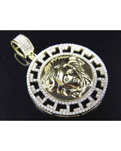 10K Yellow Gold Genuine Diamond Greek Bezel Medusa Medallion Pendant (.65ct) 1.25""