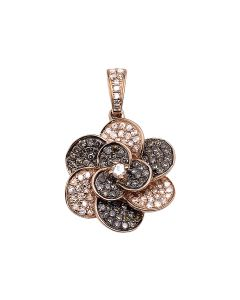 10k Rose Gold Brown Diamonds 2 Layer Petal Flower Ladies Pendant 1ct