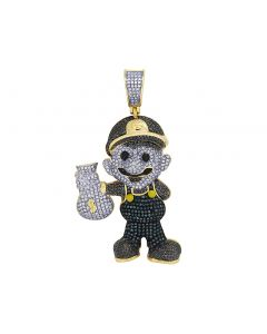 Yellow Gold Diamond Nintendo Mario Cartoon Character Pendant 1.4CT