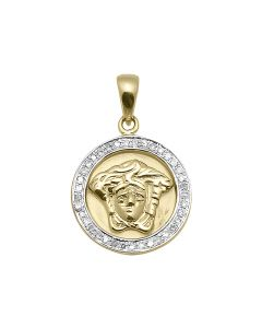 10K Yellow Gold Mini Medusa Pendant (0.09 ct)