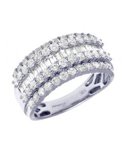 White Gold 5 Row Raised Prong Baguette Diamond Ring 11MM 2.25CT