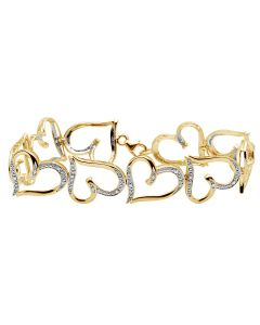 10K Yellow Gold Genuine Diamonds Ladies Heart Bracelet .25ct 7""