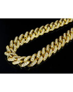 """10K Yellow Gold Real Diamond Miami Iced Cuban Necklace Chain 28.75Ct 30"""""""