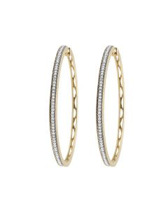 Ladies 10K Yellow Gold Real Diamond Hoop Earrings 0.33ct 2""