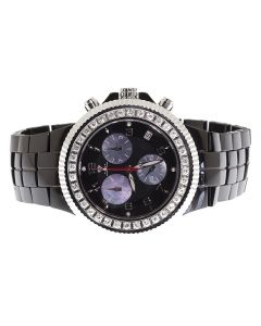 Aqua Master Mens Black Ceramic Sub Dials 47mm Watch 2.85 ct Diamonds