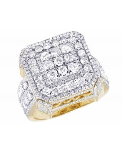 10K Yellow Gold Real Diamonds 3D Square Men's Designer Ring 2 9/10 CT 19MM