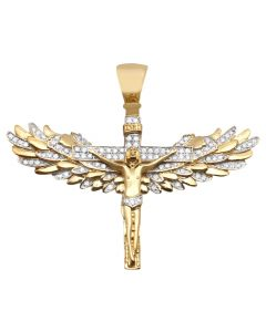 10K Yellow Gold Genuine Diamond Jesus Angel Wings Crucifix Pendant 1.5""