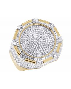 10K Yellow Gold Real Diamond Octagon 3D Real Diamond Ring 1 1/2 ct