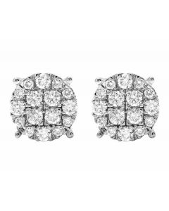 Ladies 10K White Gold Round Pave Diamond Studs Earrings 1.5CT 10M