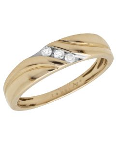 Men's 10K Two Tone Gold Real Diamonds Wedding Ring Band 0.15 ct