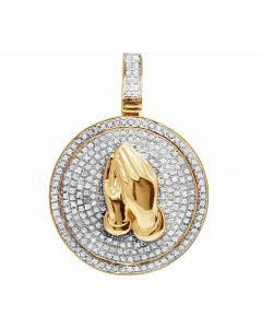 Real Diamond 10K Yellow Gold Praying Hand Medallion Pendant .75ct 1.3""
