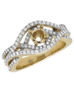 10K Yellow Gold Semi Mount Infinity Real Diamond Ring 1.25