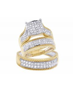 10K Yellow Gold Round Trio Genuine Diamond Bridal Wedding Ring Set  1 Ct.