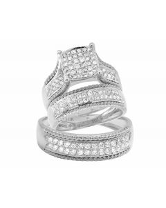 10K White Gold Round Trio Genuine Diamond Bridal Wedding Ring Set  1 Ct.