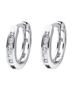 10K White Gold Invisible Set One Row Baguette Diamond Hoop Earring 0.15ct.