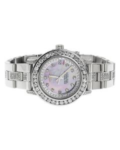 Custom Ladies Breitling Aeromarine Pink MOP Colt 33 Diamond Watch (10.5 Ct)
