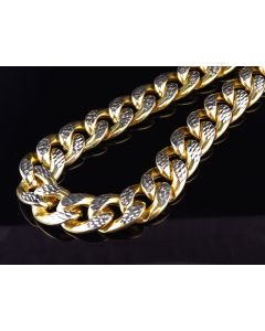 10K Yellow Gold Diamond Cut Miami Cuban Link 12.5MM Chain Necklace 28-36 Inches
