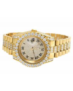 Mens Jewelry Unlimited Yellow Gold Plated Simulated Diamond Watch 40MM
