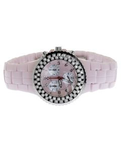 Ladies Aqua Master 1.25ct Diamond Pink Ceramic 40mm Watch W#115